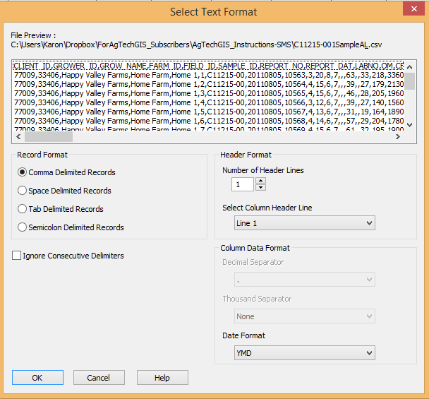 SMS Import CSV Preview