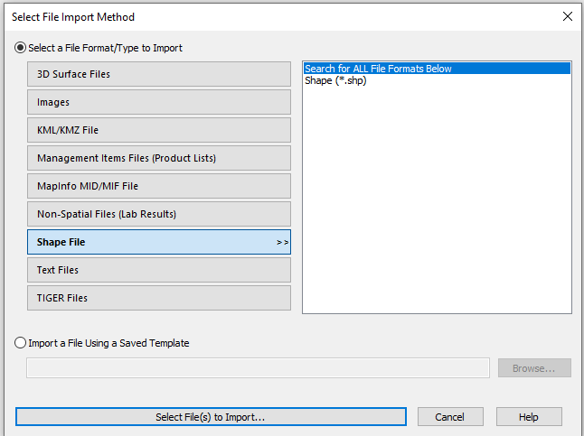 SMS File Import Wizard Select File Type: SHP