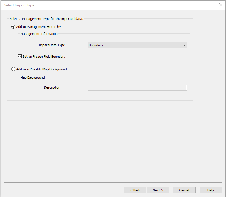 SMS File Import Wizard Boundary Type