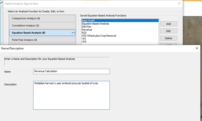 SMS Analyis Wizard Add New Equation