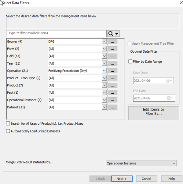The data filter window to select which growers/farms/fields/year and data type to export