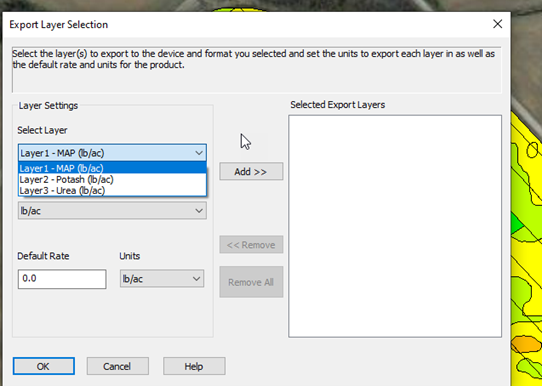 Select all of the layers to be included in export by Adding to Selected layers (right side of screen)