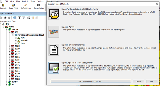 Select an Export Method Screen: Select Single Shapefile to a Field display/Monitor