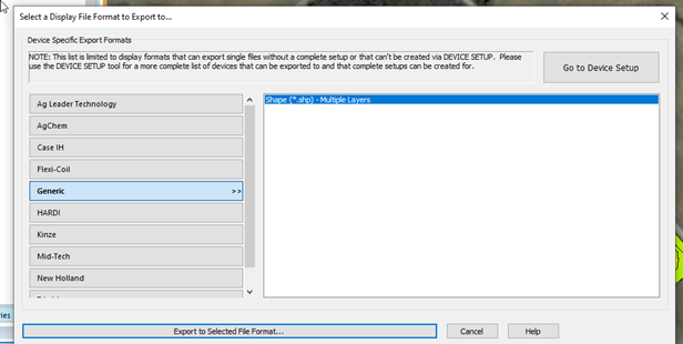 Select a File Format to Export to: Select Generic>Shape>Multiple Layers